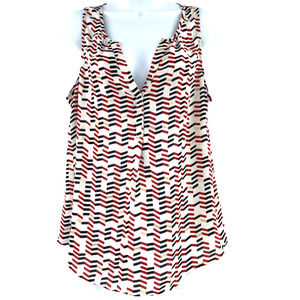 Candies Tank Top Chevron Stripe White/Red L